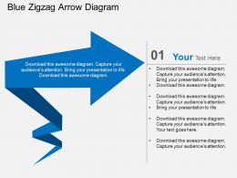 Blue Zigzag Arrow Diagram Flat Powerpoint Design
