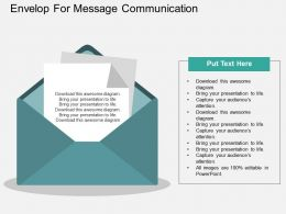 bm Envelop For Message Communication Flat Powerpoint Design