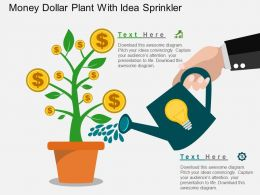 bm Money Dollar Plant With Idea Sprinkler Flat Powerpoint Design