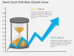 bm Sand Clock With Blue Growth Arrow Flat Powerpoint Design