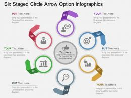 bm Six Staged Circle Arrow Option Infographics Flat Powerpoint Design