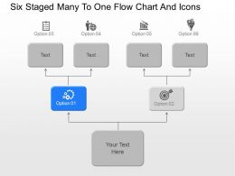 bm Six Staged Many To One Flow Chart And Icons Powerpoint Template