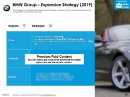 BMW group expansion strategy 2019