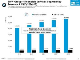 BMW Group Financials Services Segment By Revenue And EBIT 2014-18