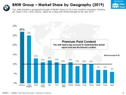 BMW Group Market Share By Geography 2019