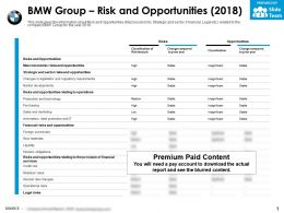 BMW group risk and opportunities 2018