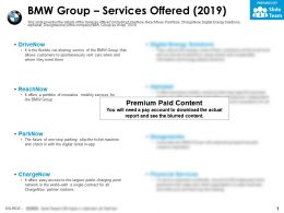 BMW group services offered 2019