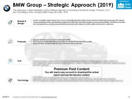 BMW group strategic approach 2019