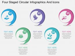 bn Four Staged Circular Infographics And Icons Flat Powerpoint Design