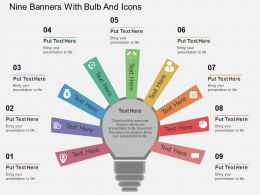 bn Nine Banners With Bulb And Icons Flat Powerpoint Design