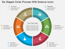bn Six Staged Circle Process With Science Icons Flat Powerpoint Design