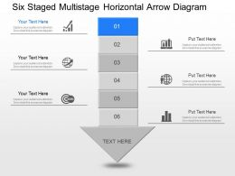 bn Six Staged Multi Staged Horizontal Arrow Diagram Powerpoint Template