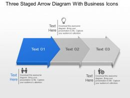 Bn Three Staged Arrow Diagram With Business Icons Powerpoint Template