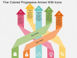 bo Five Colored Progressive Arrows With Icons Flat Powerpoint Design