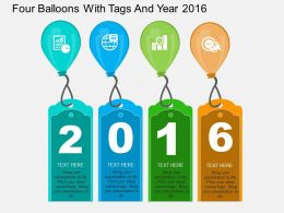 bo Four Balloons With Tags And Year 2016 Flat Powerpoint Design