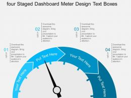 bo Four Staged Dashboard Meter Design Text Boxes Flat Powerpoint Design