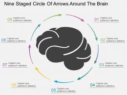 bo Nine Staged Circle Of Arrows Around The Brain Flat Powerpoint Design