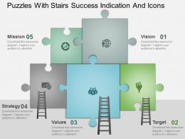 Bo Puzzles With Stairs Success Indication And Icons Powerpoint Template