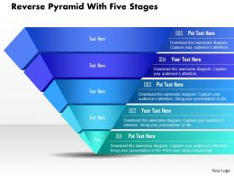 Bo Reverse Pyramid With Five Stages Powerpoint Template