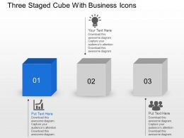 Bo Three Staged Cube With Business Icons Powerpoint Template