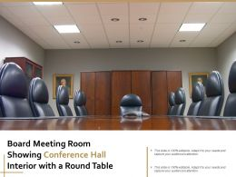 Board Meeting Room Showing Conference Hall Interior With A Round Table
