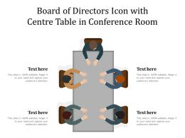 Board Of Directors Icon With Centre Table In Conference Room