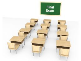Board With Final Exam Text And Chairs Stock Photo