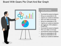 board_with_gears_pie_chart_and_bar_graph_flat_powerpoint_design_Slide01