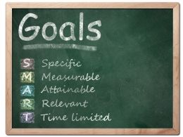 Board With Goals And Smart Text Stock Photo