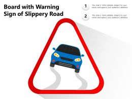Board With Warning Sign Of Slippery Road