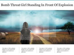 Bomb Threat Girl Standing In Front Of Explosion