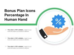 Bonus Plan Icons Percentage In Human Hand