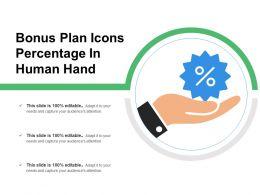 Bonus Plan Icons Percentage In Human Hand