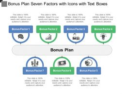 Bonus Plan Seven Factors With Icons With Text Boxes