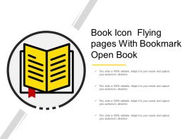 Book Icon Flying Pages With Bookmark Open Book
