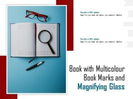 Book With Multicolour Book Marks And Magnifying Glass