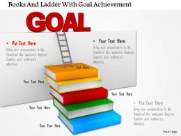 Books And Ladder With Goal Achievement Image Graphics For Powerpoint