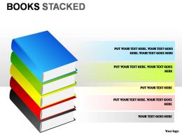 Books Stacked Powerpoint Presentation Slides