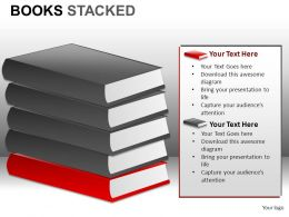 Books Stacked Powerpoint Presentation Slides DB