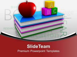 Books With Apple And Blocks Education Theme PowerPoint Templates PPT Themes And Graphics 0313