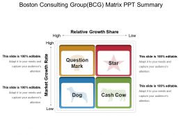 Boston Consulting Groupbcg Matrix Ppt Summary