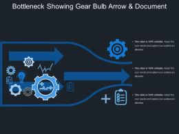 Bottleneck Showing Gear Bulb Arrow And Document