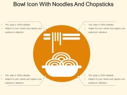 Bowl Icon With Noodles And Chopsticks