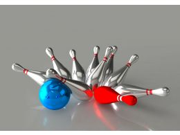 Bowling Blue Ball Strikes Red And Silver Pins Stock Photo
