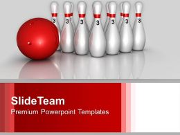 Bowling Pins And Ball Sports Competition PowerPoint Templates PPT Themes And Graphics 0113
