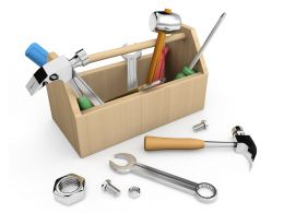Box Full With Tools Stock Photo