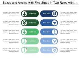 boxes_and_arrows_with_five_steps_in_two_rows_with_a_comparison_Slide01