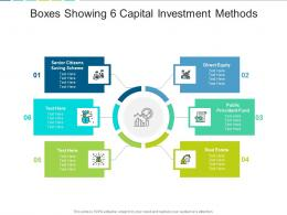 Boxes Showing 6 Capital Investment Methods