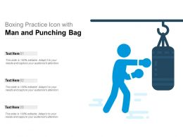 Boxing Practice Icon With Man And Punching Bag