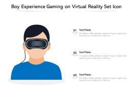 Boy Experience Gaming On Virtual Reality Set Icon